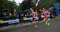 15 SEP 2013 - LONDON, GBR - Jonathan Brownlee (GBR) (left) of Great Britain leads Javier Gomez (ESP) (right) of Spain on the first run lap at the elite men's ITU 2013 World Triathlon Series Grand Final in Hyde Park, London, Great Britain (PHOTO COPYRIGHT © 2013 NIGEL FARROW, ALL RIGHTS RESERVED)
