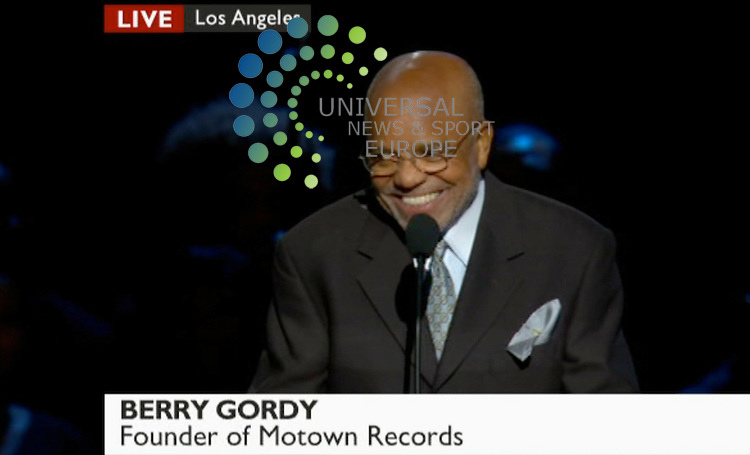 .Berry Gordy, founder of Motown Records, says Jackson could outsing Smokey Robinson at the Staples Center for Michael Jackson tribute..Picture: 07/07/09 Universal News and Sport (USA). (Universal News does not claim any Copyright or License in the attached material. Any downloading fee charged by Universal News and Sport is for Universal News services only. We are advised that videograbs should not be used more than 48 hours after the time of original transmission, without the consent of the copyright holder).