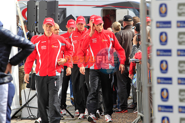 Cofidis Le Credit en Ligne at the Team presentations in Place du Général de Gaulle outside the Palais de Compiègne the day before start of the Paris-Roubaix spring classic cycle race. 7th April 2012 (Photo by Eoin Clarke 2012)