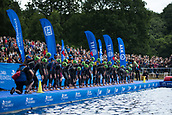 June 11th 2017, Leeds, Yorkshire, England; ITU World Triathlon Leeds 2017; The elite womens field line up on the pontoon for the swim