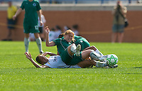 St Louis Athletica midfielder Lori Chalupny (17) lands on top of Los Angeles Sol midfielder Shannon Boxx (7) during a WPS match at Hermann Stadium, in St. Louis, MO, April 25 2009.  Athletica and Sol tied the match.