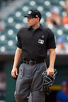 Umpire Tom Honec during a game between the Columbus Clippers and Buffalo Bisons on July 19, 2015 at Coca-Cola Field in Buffalo, New York.  Buffalo defeated Columbus 4-3 in twelve innings.  (Mike Janes/Four Seam Images)