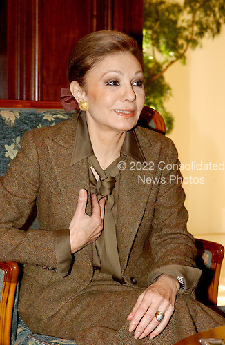 "Empress Farah Diba Pahlavi, the former Queen of Iran, discusses her life with the former Shah of Iran, Mohammed Reza Pahlavi, during an interview in McLean, Virginia on February 20, 2004.  She was the third wife of the Shah.  The Empress discussed her memoirs ""An Enduring Love: My Life with the Shah""..Credit: Ron Sachs / CNP"
