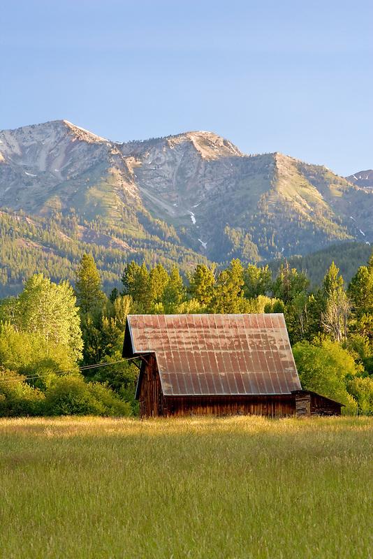 Barn on farm with wallow mountains. Near Halfway, Oregon