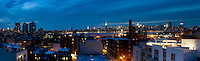 View at night from Rob and Mara's rooftop at North 10th St. Btw. Berry and Bedford in Williamsburg Brooklyn, New York.