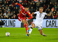 29th November 2019; Liberty Stadium, Swansea, Glamorgan, Wales; English Football League Championship, Swansea City versus Fulham; Aleksandar Mitrovic of Fulham shoots at goal but its blocked by Ben Wilmot of Swansea City - Strictly Editorial Use Only. No use with unauthorized audio, video, data, fixture lists, club/league logos or 'live' services. Online in-match use limited to 120 images, no video emulation. No use in betting, games or single club/league/player publications