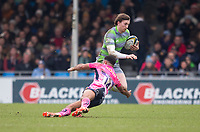 Newcastle Falcons' Simon Hammersley evades the tackle of Exeter Cheifs' Tom O'Flaherty<br /> <br /> Photographer Bob Bradford/CameraSport<br /> <br /> Anglo Welsh Cup Semi Final - Exeter Chiefs v Newcastle Falcons - Sunday 11th March 2018 - Sandy Park - Exeter<br /> <br /> World Copyright &copy; 2018 CameraSport. All rights reserved. 43 Linden Ave. Countesthorpe. Leicester. England. LE8 5PG - Tel: +44 (0) 116 277 4147 - admin@camerasport.com - www.camerasport.com