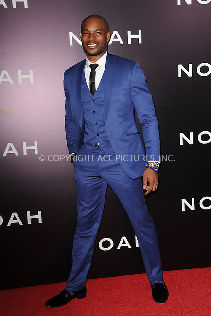 WWW.ACEPIXS.COM<br /> March 26, 2014 New York City<br /> <br /> Tyson Beckford attending the 'Noah' New York premiere at Ziegfeld Theatre on March 26, 2014 in New York City.<br /> <br /> Please byline: Kristin Callahan<br /> <br /> ACEPIXS.COM<br /> <br /> Tel: (212) 243 8787 or (646) 769 0430<br /> e-mail: info@acepixs.com<br /> web: http://www.acepixs.com