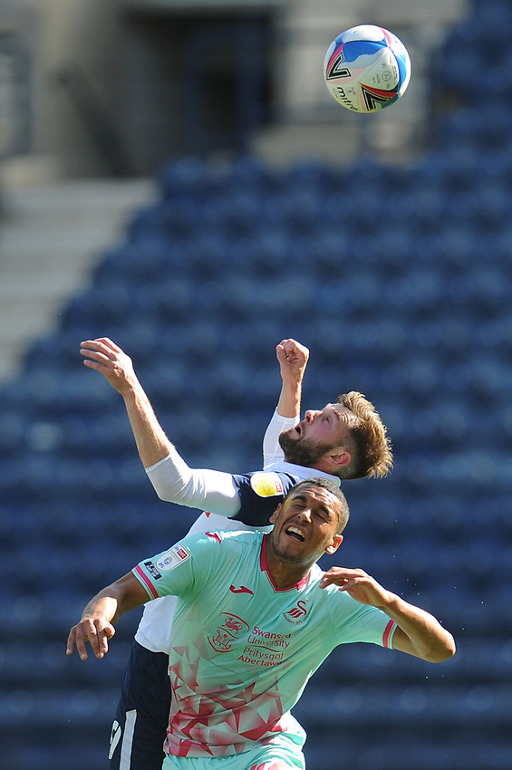 Preston North End's Tom Barkhuizen vies for possession with Swansea City's Ben Cabango<br /> <br /> Photographer Kevin Barnes/CameraSport<br /> <br /> The EFL Sky Bet Championship - Preston North End v Swansea City - Saturday September 12th 2020 - Deepdale - Preston<br /> <br /> World Copyright © 2020 CameraSport. All rights reserved. 43 Linden Ave. Countesthorpe. Leicester. England. LE8 5PG - Tel: +44 (0) 116 277 4147 - admin@camerasport.com - www.camerasport.com