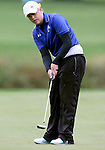 SIOUX FALLS, SD - SEPTEMBER 23: Hallie Getz from South Dakota State University rolls her putt through the rain on the 12th hole of the final round at the 2014 Jackrabbit Invitational Tuesday morning at Minnehaha Country Club.(Photo by Dave Eggen/Inertia)