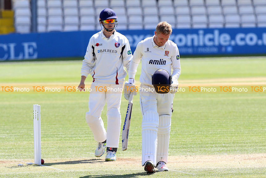 Frustration for Jamie Porter of Essex after he is dismissed by a Matt Coles delivery that bounced off his helmet - Essex CCC vs Kent CCC - LV County Championship Division Two Cricket at the Essex County Ground, Chelmsford, Essex - 21/04/15 - MANDATORY CREDIT: TGSPHOTO - Self billing applies where appropriate - contact@tgsphoto.co.uk - NO UNPAID USE