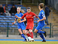 20191221 - WOLUWE: Gent's (left) Feli Delacauw, Woluwe's Lynn Senaeve and Gent's Sofie Vanhooern (right) are in action during the Belgian Women's National Division 1 match between FC Femina WS Woluwe A and KAA Gent B on 21st December 2019 at State Fallon, Woluwe, Belgium. PHOTO: SPORTPIX.BE | SEVIL OKTEM