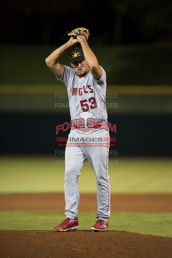 Mesa Solar Sox relief pitcher Brett Hanewich (53), of the Los Angeles Angels organization, gets ready to deliver a pitch during an Arizona Fall League game against the Scottsdale Scorpions on October 9, 2018 at Scottsdale Stadium in Scottsdale, Arizona. The Solar Sox defeated the Scorpions 4-3. (Zachary Lucy/Four Seam Images)