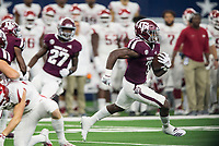 Hawgs Illustrated/Ben Goff<br /> Jashaun Corbin of Texas A&M returns the opening kickoff for a 100 yard touchdown in the 1st quarter Saturday, Sept. 29, 2018, during the Southwest Classic vs Arkansas at AT&T Stadium in Arlington, Texas.