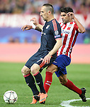 Atletico de Madrid's Augusto Fernandez (r) and FC Bayern Munchen's Franck Ribery during Champions League 2015/2016 Semi-Finals 1st leg match. April 27,2016. (ALTERPHOTOS/Acero)