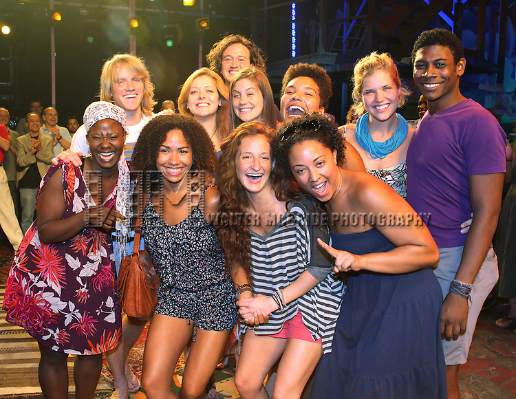 Cast members making their Broadway Debuts.celebrating the Opening Night Gypsy Robe Ceremony for Recipient Arbender Robinson in 'Hair' at the St. James Theatre  in New York City.