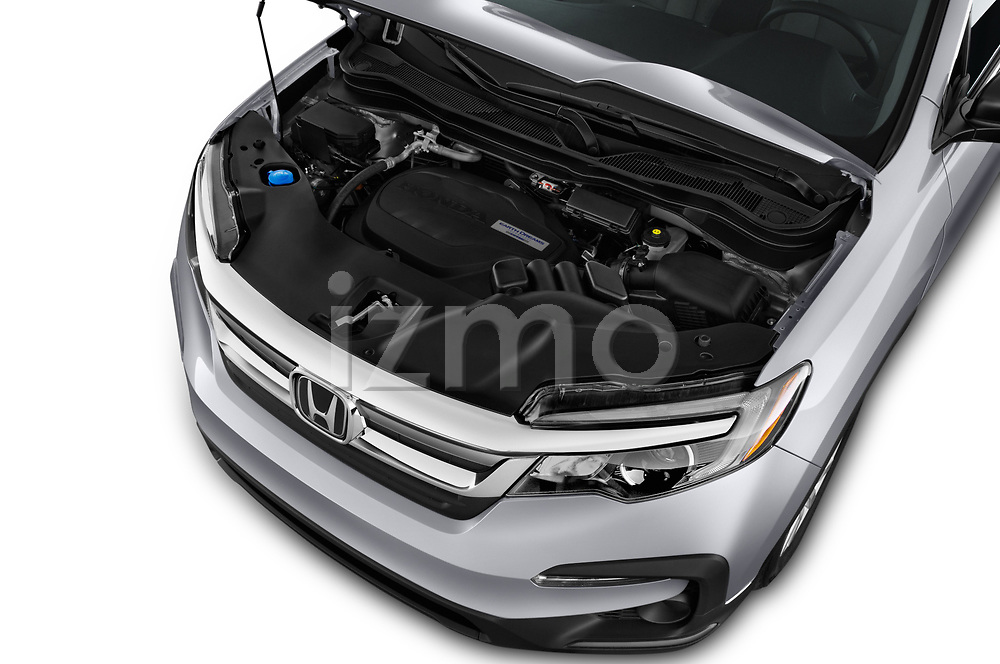 Car stock 2019 Honda Pilot LX 5 Door SUV engine high angle detail view