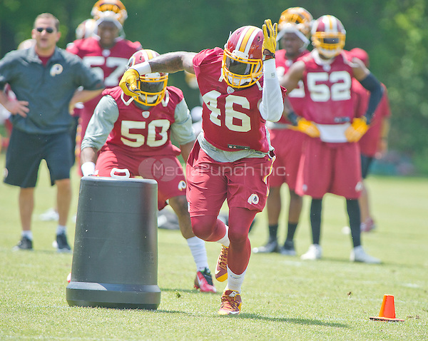 Washington Redskins linebacker Willie Jefferson (46) participates in drills during an organized team activity (OTA) at Redskins Park in Ashburn, Virginia on Wednesday, May 25, 2015.<br /> Credit: Ron Sachs / CNP/MediaPunch ***FOR EDITORIAL USE ONLY***