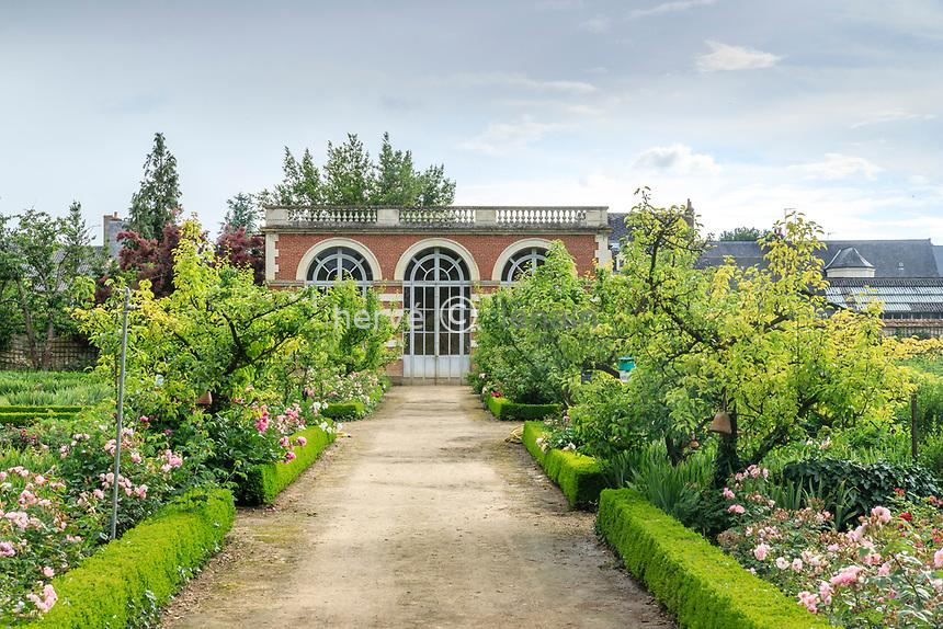 France, Sarthe (72), Le Lude, château et jardins du Lude, le potager et l'orangerie