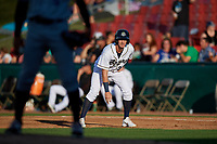 Kane County Cougars left fielder Ryan Grotjohn (33) leads off first base during a game against the West Michigan Whitecaps on July 19, 2018 at Northwestern Medicine Field in Geneva, Illinois.  Kane County defeated West Michigan 8-5.  (Mike Janes/Four Seam Images)