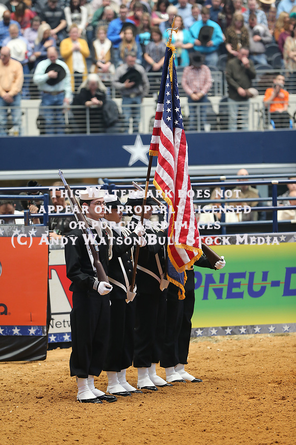 Military in the opening during the RFDTV's The American Rodeo presented by Dish. Photo by Andy Watson. Photo credit must be given on all use; Photo by; Andy Watson/ Bull Stock Media
