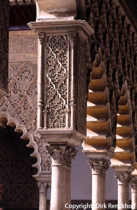 Spanien, Andalusien, Patio de las Doncellas im Alcazar in Sevilla, Unesco-Weltkulturerbe