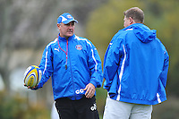 Head Coach Gary Gold has a word with Forwards coach Neal Hatley. Bath Rugby training session on October 25, 2012 at Farleigh House in Bath, England. Photo by: Patrick Khachfe/Onside Images
