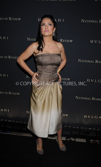 WWW.ACEPIXS.COM . . . . . ....January 14 2009, New York City....Actress Salma Hayek arriving at the 2008 National Board of Review awards gala at Cipriani on January 14, 2009 in New York City. ....Please byline: KRISTIN CALLAHAN - ACEPIXS.COM.. . . . . . ..Ace Pictures, Inc:  ..tel: (212) 243 8787 or (646) 769 0430..e-mail: info@acepixs.com..web: http://www.acepixs.com