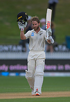 NZ captain Kane Williamson celebrates his century during day five of the international cricket 2nd test match between NZ Black Caps and England at Seddon Park in Hamilton, New Zealand on Tuesday, 3 December 2019. Photo: Dave Lintott / lintottphoto.co.nz