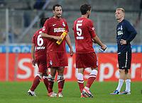 Fussball 2. Bundesliga:  Saison   2012/2013,    4. Spieltag  TSV 1860 Muenchen - MSV Duisburg    31.08.2012 Benjamin Kern, Stephan Hennen, Branimir Bajic (v.li., MSV Duisburg)