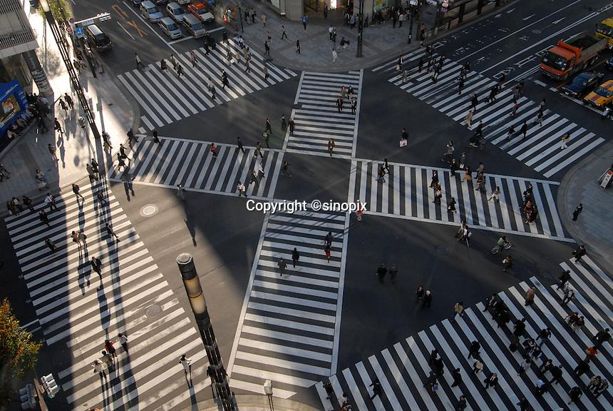 A busy zebra crossing in ginza Tokyo, Japan.