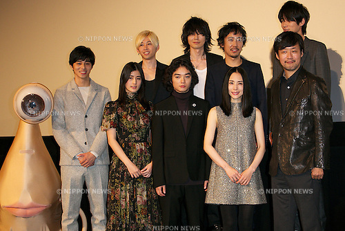 """Masahiro Higashide, Ai Hashimoto, Shota Sometani, Eri Fukatsu, Takashi Yamazaki, October 30 2014 :  (L to R) Miggy,  Masahiro Higashide, Ai Hashimoto, Shota Sometani, Eri Fukatsu, Takashi Yamazaki, BUMP OF CHICKEN, October 30 2014, Tokyo, Japan : Character Miggy, actor  Masahiro Higashide, actress Ai Hashimoto, actor Shota Sometani, actress Eri Fukatsu, director Takashi Yamazaki and members of the band BUMP OF CHICKEN pose for the cameras during the world premiere of the movie """"PARASYTE"""" at TOHO CINEMAS in Nihonbashi on October 30, 2014, Tokyo, Japan. The 27th Tokyo International Film Festival is one of the biggest film festivals in Asia and runs from October 23 to 31. (Photo by Rodrigo Reyes Marin/AFLO)"""
