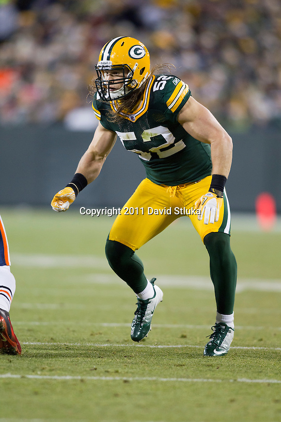 Green Bay Packers linebacker Clay Matthews (52) plays defense during a week 16 NFL football game against the Chicago Bears on December 25, 2011 in Green Bay, Wisconsin. The Packers won 35-21. (AP Photo/David Stluka)