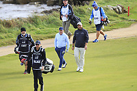 Shane Lowry (IRL) and Gerry McManus (AM) walking off the 3rd tee during Round 2 of the Alfred Dunhill Links Championship 2019 at Kingbarns Golf CLub, Fife, Scotland. 27/09/2019.<br /> Picture Thos Caffrey / Golffile.ie<br /> <br /> All photo usage must carry mandatory copyright credit (© Golffile | Thos Caffrey)