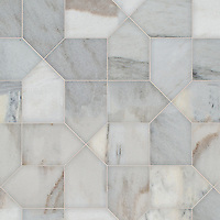 Maxfield, a hand-cut stone mosaic, shown in honed Angora, is part of the Semplice™ collection for New Ravenna.