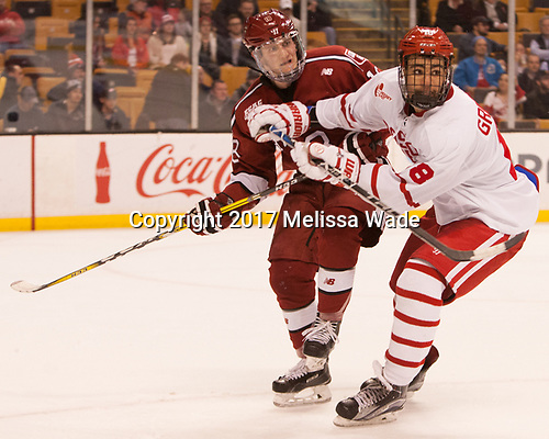Adam Fox (Harvard - 18), Jordan Greenway (BU - 18) - The Harvard University Crimson defeated the Boston University Terriers 6-3 (EN) to win the 2017 Beanpot on Monday, February 13, 2017, at TD Garden in Boston, Massachusetts.
