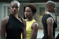 Black Panther (2018)<br /> L to R: Okoye (Danai Gurira), Nakia (Lupita Nyong'o) and Ayo (Florence Kasumba)<br /> *Filmstill - Editorial Use Only*<br /> CAP/KFS<br /> Image supplied by Capital Pictures