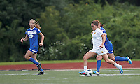 Western New York Flash substitute forward Vicki DiMartino (15) on the attack.  In a National Women's Soccer League (NWSL) match, Boston Breakers (blue) tied Western New York Flash (white), 2-2, at Dilboy Stadium on August 3, 2013.