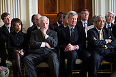 """Washington, DC - March 5, 2009 -- United States Senator Edward M. """"Ted"""" Kennedy (Democrat of Massachusetts), along with White House Domestic Policy Council Director Melody Barnes, left, U.S. Senator Max Baucus (Democrat of Montana), second from right, and U.S. Representative Charles Rangel (Democrat of New York) listen during a Health Care Summit second session in the East Room of the White House March 5, 2009. Senator Kennedy's son, U.S. Representative Patrick Kennedy (Democrat of Rhode Island), is seated in the second row at left.  .Mandatory Credit: Pete Souza - White House via CNP"""