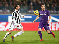 Calcio, Serie A: Fiorentina - Juventus, stadio Artemio Franchi Firenze 9 febbraio 2018.<br /> Juventus Federico Bernardeschi (l) in action with Fiorentina's Jordan Veretout (r) during the Italian Serie A football match between Fiorentina and Juventus at Florence's Artemio Franchi stadium, February 9, 2018.<br /> UPDATE IMAGES PRESS/Isabella Bonotto