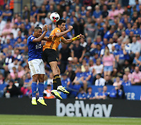 Leicester City's Youri Tielemans battles with Wolverhampton Wanderers' Raul Jimenez <br /> <br /> <br /> <br /> Photographer Stephen White/CameraSport<br /> <br /> The Premier League - Leicester City v Wolverhampton Wanderers - Sunday 11th August 2019 - King Power Stadium - Leicester<br /> <br /> World Copyright © 2019 CameraSport. All rights reserved. 43 Linden Ave. Countesthorpe. Leicester. England. LE8 5PG - Tel: +44 (0) 116 277 4147 - admin@camerasport.com - www.camerasport.com