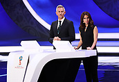 1st December 2017, State Kremlin Palace, Moscow, Russia; Retired soccer player Gary Lineker (L) from England and the Russian TV presenter Maria Komandnaja present the FIFA 2018 World Cup draw, at the State Kremlin Palace in Moscow, Russia, 01 December 2017.