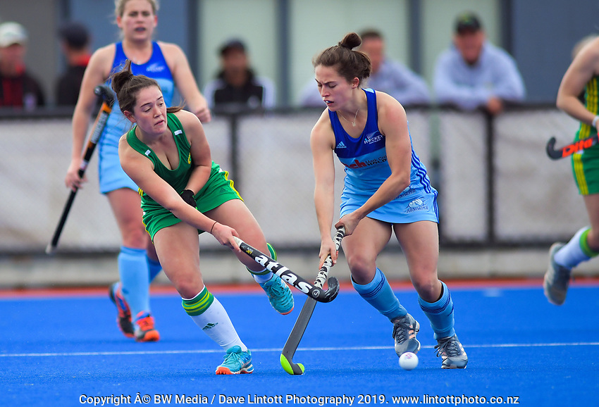 Action from the 2019 Women's National Hockey League match between John Turkington Forestry Central Mysticks and Mark Cromie Motor Group Northern at Blake Park in Mount Maunganui, New Zealand on Saturday, 14 September 2019. Photo: Dave Lintott / lintottphoto.co.nz