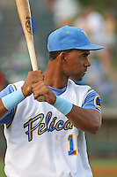 Samuel Sime #10 of the Myrtle Beach Pelicans swinging his bat in the outfield before his team's game against the Frederick Keys on May 14, 2010 in Myrtle Beach, SC.