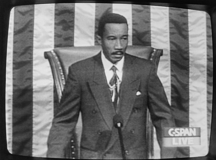 Rep. Kweisi Mfume, D-Md., at the Speakers Chair, on Sep. 20, 1993. (Photo by Chris Martin/CQ Roll Call via Getty Images)