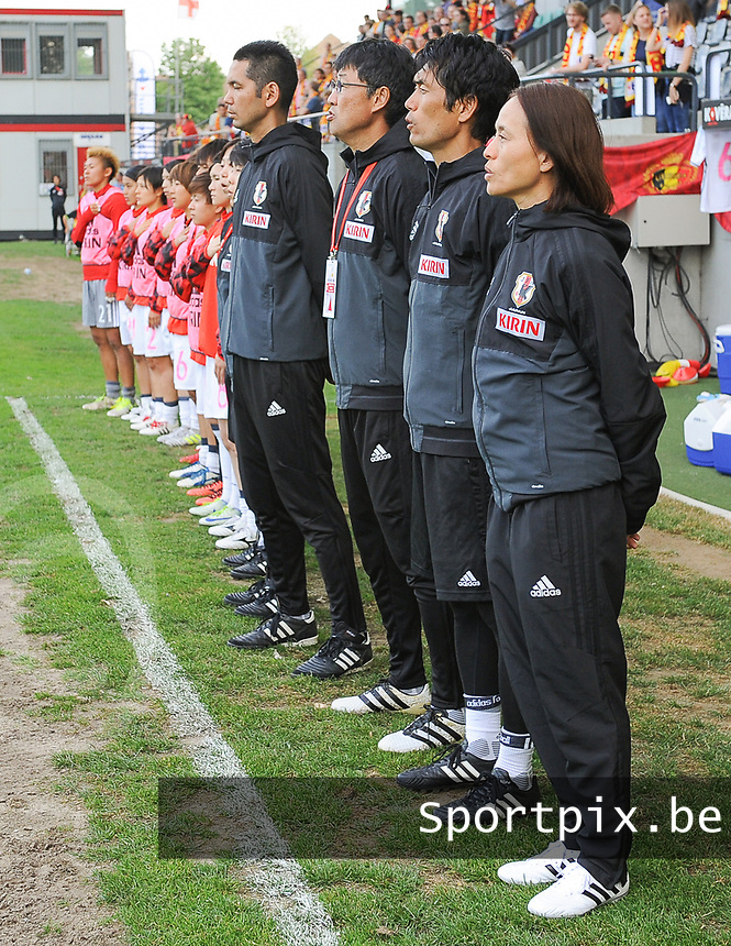 20170613 - LEUVEN ,  BELGIUM :  Japanese technical staff pictured during the female soccer game between the Belgian Red Flames and Japan , a friendly game before the European Championship in The Netherlands 2017  , Tuesday 13 th Juin 2017 at Stadion Den Dreef  in Leuven , Belgium. PHOTO SPORTPIX.BE | DIRK VUYLSTEKE