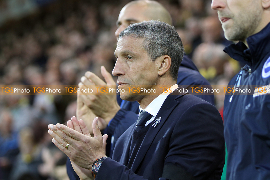 Brighton and Hove Albion managerChris Hughton  during the Applause before the game in respect to Ugo Ehiogu during Norwich City vs Brighton & Hove Albion, Sky Bet EFL Championship Football at Carrow Road on 21st April 2017