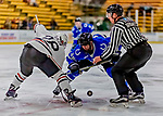 29 December 2018: University of Alabama Huntsville Charger Forward Adam Wilcox, a Senior from Alpharetta, GA, takes a first period face-off against the Northeastern University Huskies at Gutterson Fieldhouse in Burlington, Vermont. The Huskies shut out the Chargers 2-0 in the Catamount Cup tournament at the University of Vermont. Mandatory Credit: Ed Wolfstein Photo *** RAW (NEF) Image File Available ***