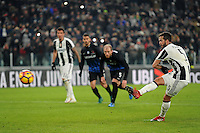 Calcio, Ottavi di finale di Tim Cup: Juventus vs Atalanta. Torino, Juventus Stadium, 11 gennaio 2017.<br /> Juventus&rsquo; Miralem Pjanic kicks to score on a penalty kick during the Italian Cup football round of 16 match between Juventus and Atalanta at Turin's Juventus Stadium, 8 January 2017. Juventus won 3-2 to join the quarter finals.<br /> UPDATE IMAGES PRESS/Manuela Viganti