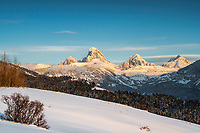 The west side of the Grand Tetons in winter from Alta Wyoming